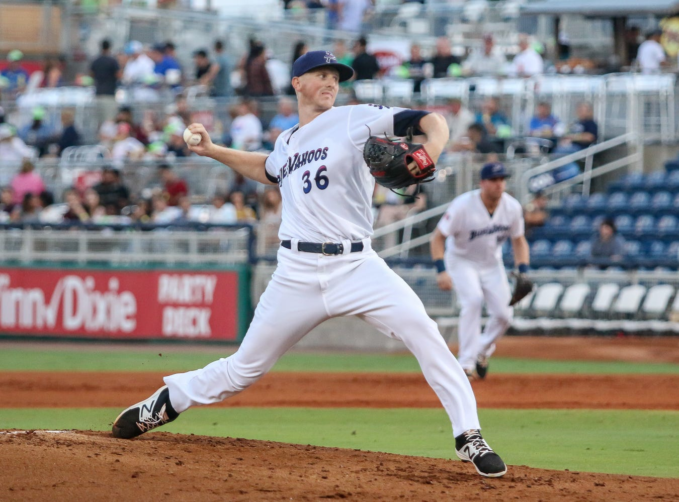 Pensacola's Wyatt Strahan (36) pitches against Mobile during the Blue Wahoos' last home game of the regular season on Tuesday, August 28, 2018.