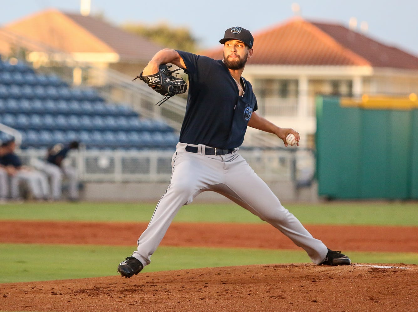 Mobile's Patrick Sandoval (26) pitches against Pensacola during the Blue Wahoos' last home game of the regular season on Tuesday, August 28, 2018.