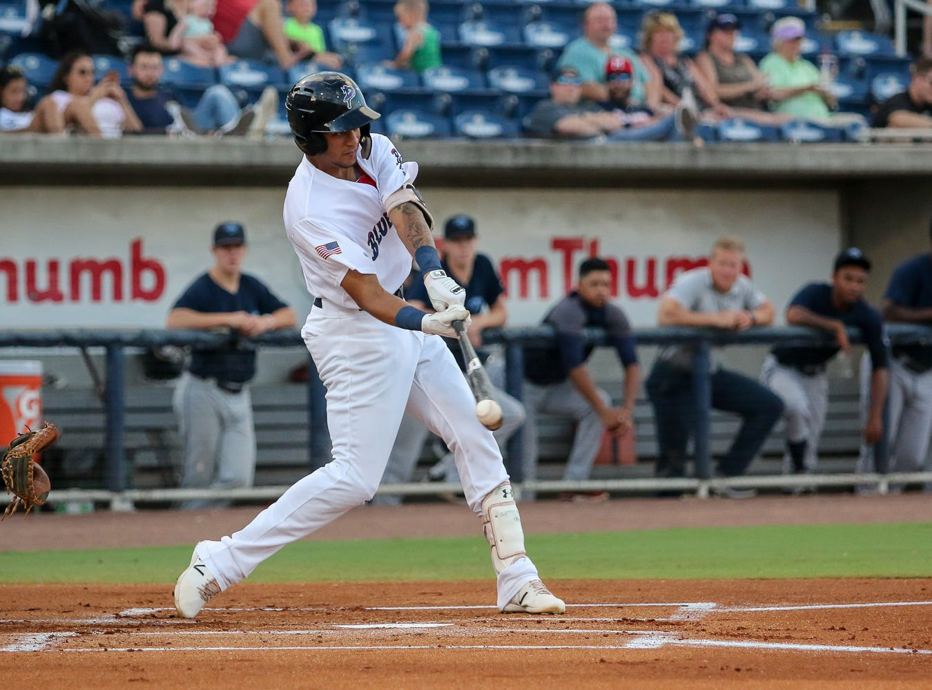 Pensacola's Jose Siri (22) just misses connecting on a pitch thrown by Mobile's Patrick Sandoval during the Blue Wahoos' last home game of the regular season on Tuesday, August 28, 2018.
