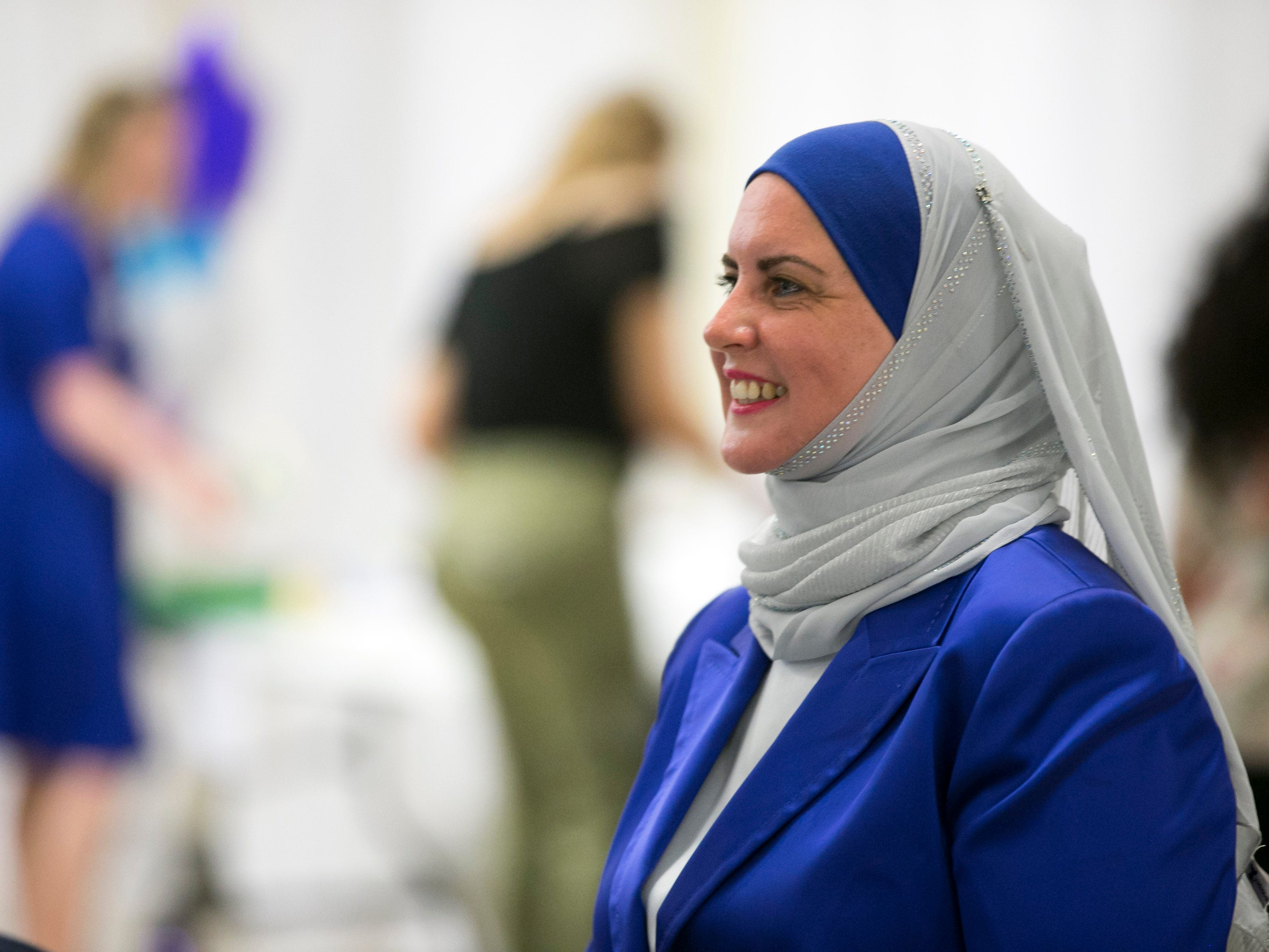 Deedra Abboud, who is vying for the Democratic nomination for the U.S. Senate seat, looks on at a watch party for the Arizona primary at Pearls Banquet Hall in Mesa on Tuesday evening, August 28, 2018.