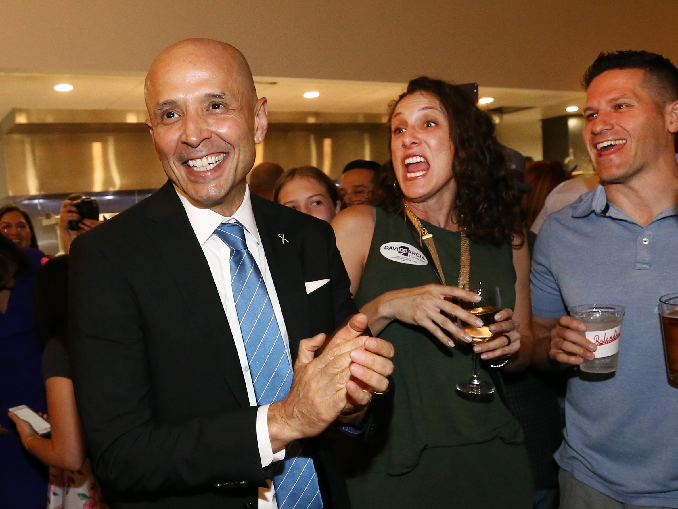 David Garcia, Democratic candidate for governor, arrives to his watch party at Roland's Cafe and Market on Aug. 28, 2018, in Phoenix.