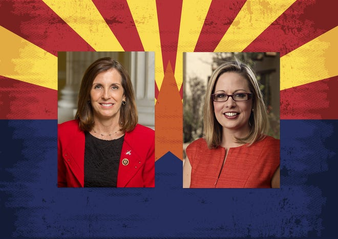 Arizona U.S. Senate candidates Republican Martha McSally (left) and Democrat Kyrsten Sinema.