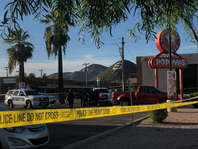A shooting was reported at a Popeyes in Phoenix on Aug. 28, 2018.