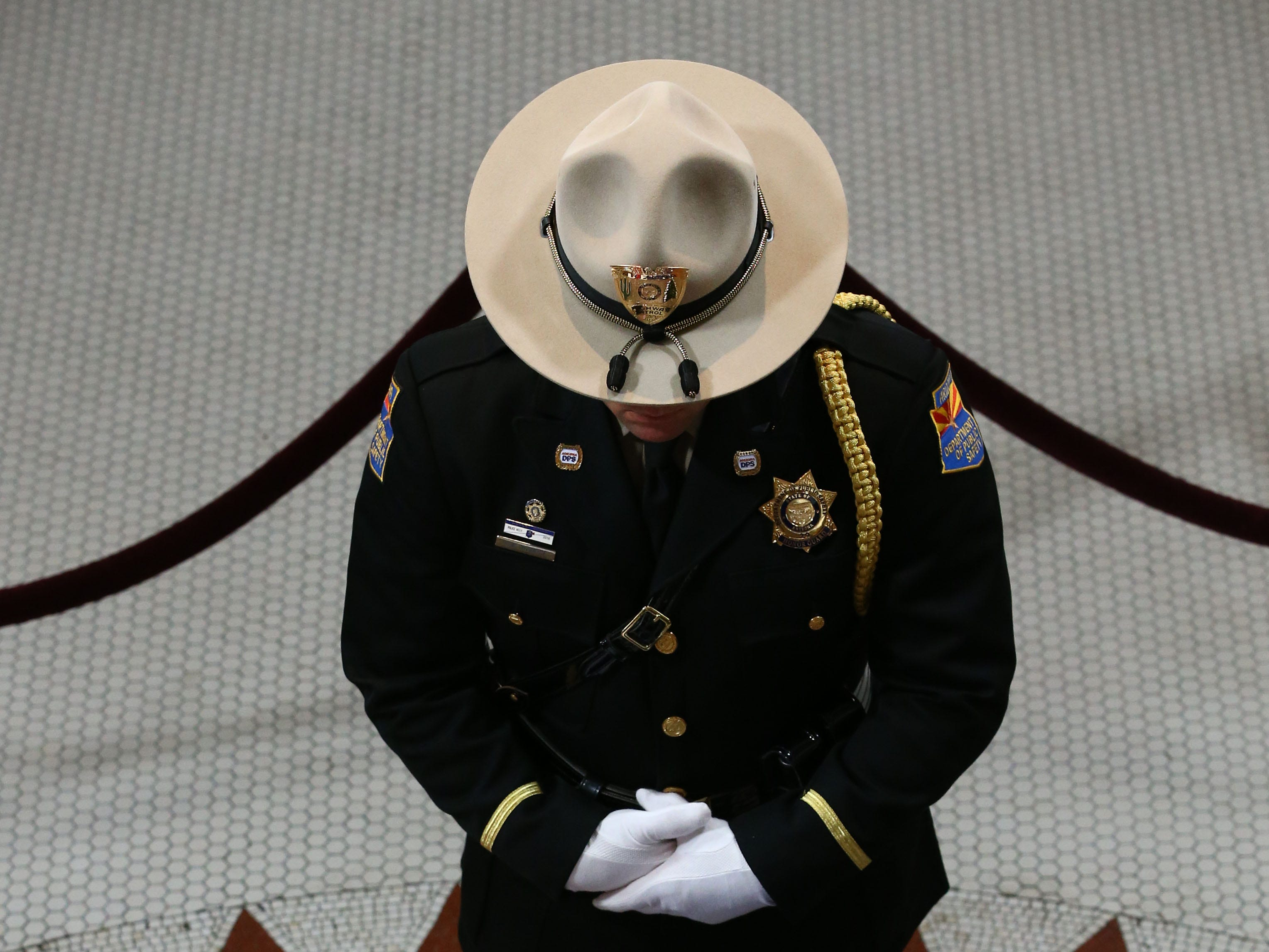 Senator John McCain lies in state in the Rotunda with an Arizona National Guard of Honor in attendance following his memorial service at the Arizona State Capitol on Aug. 29, 2018, in Phoenix, Ariz.