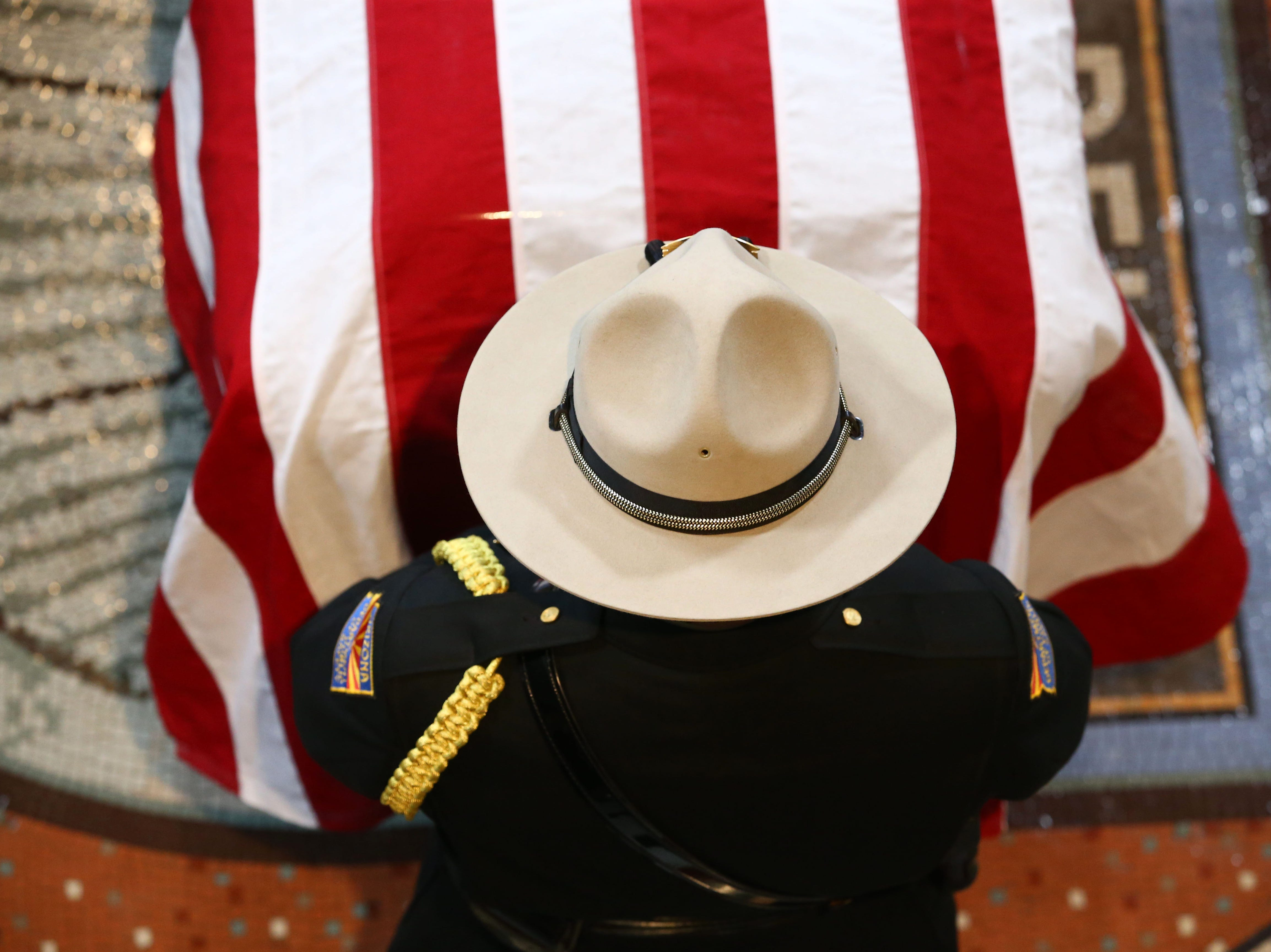 U.S. Senator John McCain lies in state in the Rotunda with an Arizona National Guard of Honor in attendance following his memorial service at the Arizona State Capitol on Aug. 29, 2018, in Phoenix, Ariz.