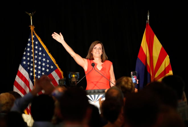 Rep. Martha McSally greets supporters during a primary election party In Tempe, Ariz. August 28. 2018. McSally  The two-term congresswoman from Tucson is vying for the Republican nomination for the open U.S. Senate seat.