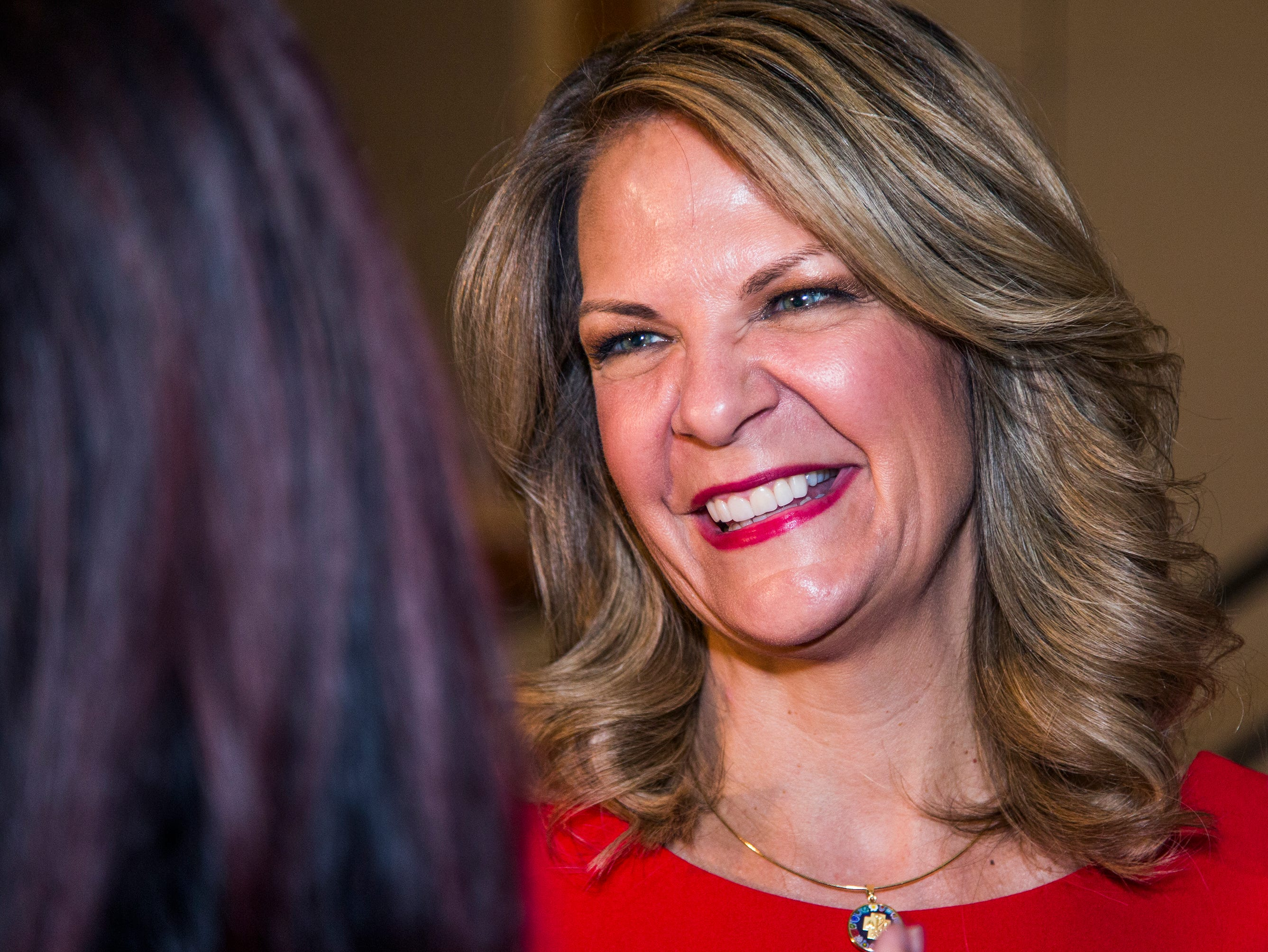 Kelli Ward greets supporters during a primary election night party at Embassy Suites Scottsdale, Aug. 28, 2018.