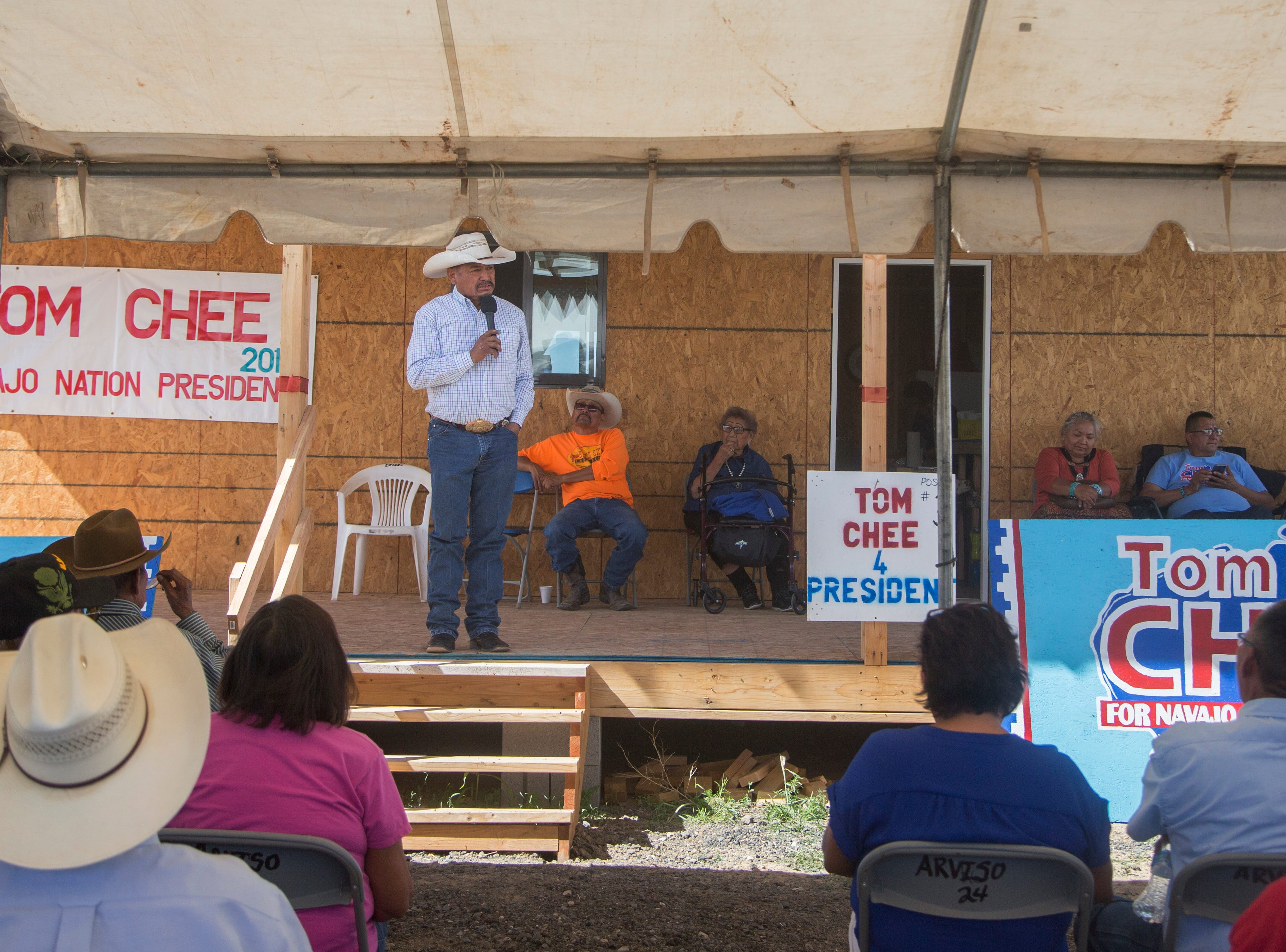 Navajo Nation presidential candidate Tom Chee addresses his supporters and touches on his campaign platform on Aug. 28, 2018, in Window Rock.