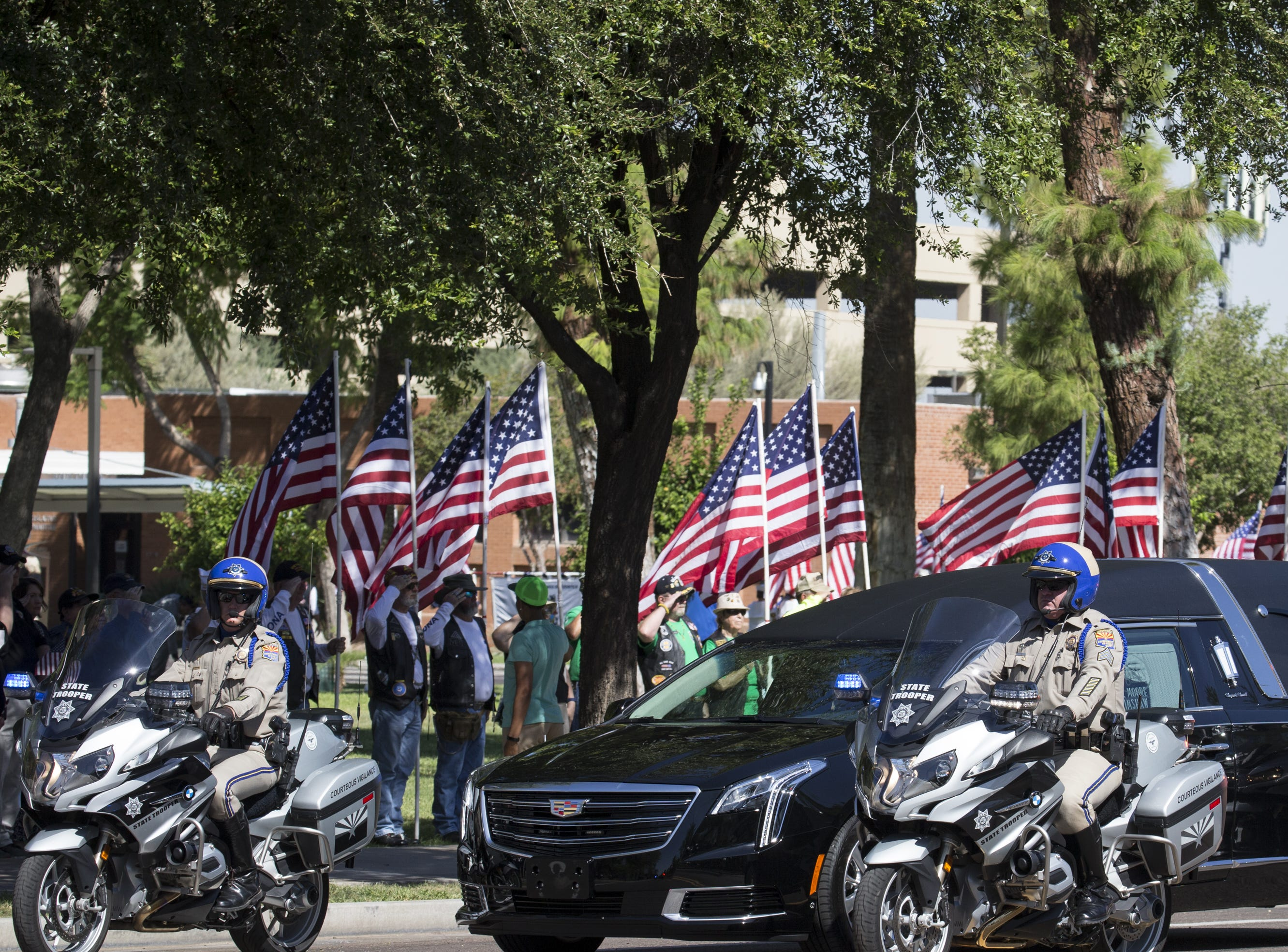 The motorcade arrives at the Arizona State Capitol for the John McCain Memorial Service, August 29, 2018, Phoenix, Arizona.
