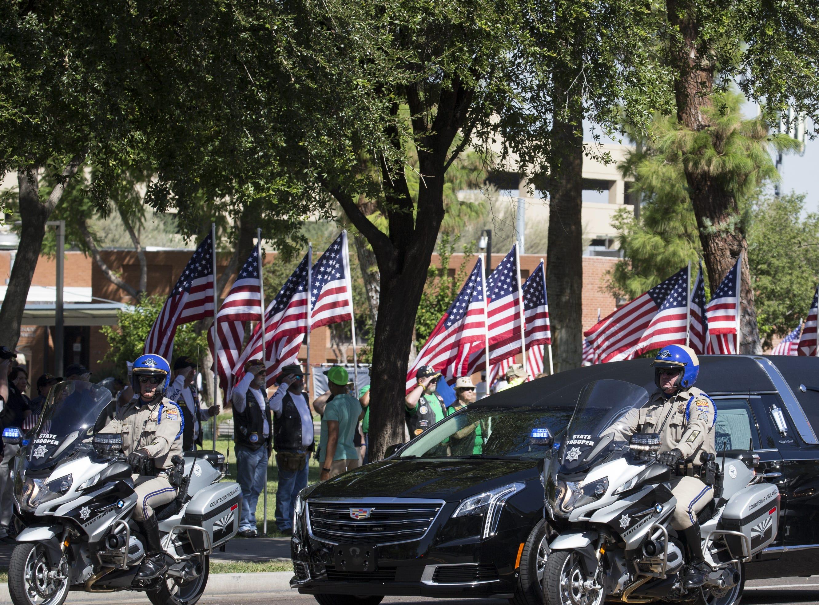 The motorcade arrives at the Arizona State Capitol for the John McCain Memorial Service, August 29, 2018, Phoenix, Arizona.