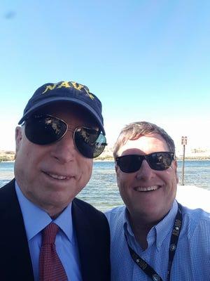 John McCain and Kurt Davis, circa 2016, at Bullhead City on the Colorado River, where McCain that day helped stock fish.