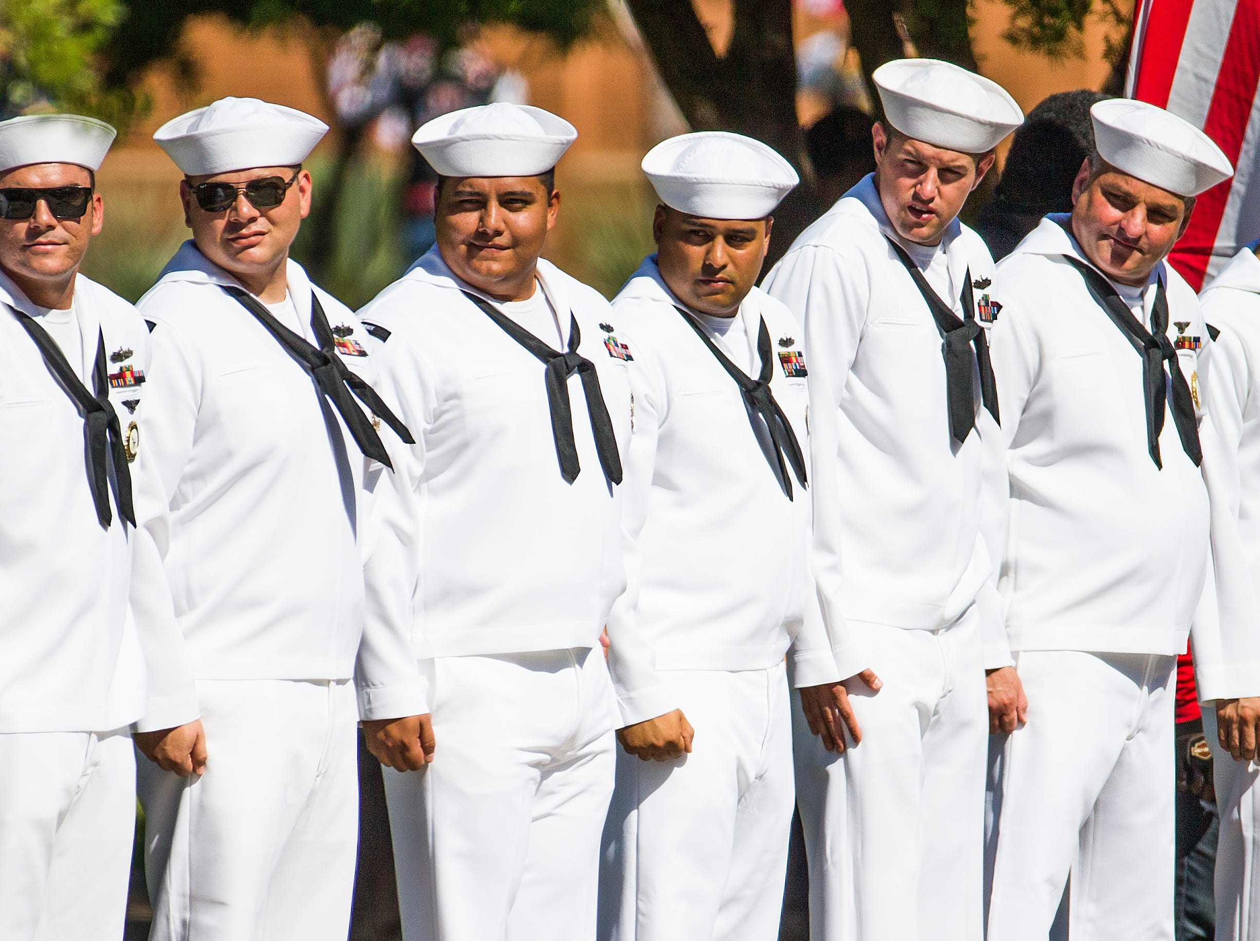 A Navy honor guard waits for Cindy McCain and her family to arrive at the Capitol in Phoenix Wednesday morning, August 29, 2018. A memorial service for Sen. John McCain will be held and McCain's body will lie in state in the rotunda for the public to pay their final respects.