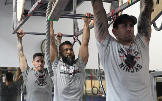 One of the greatest challenges in ninja-warrior training is developing the grip strength to complete the obstacles, ninja trainer Steve Kimpton says.