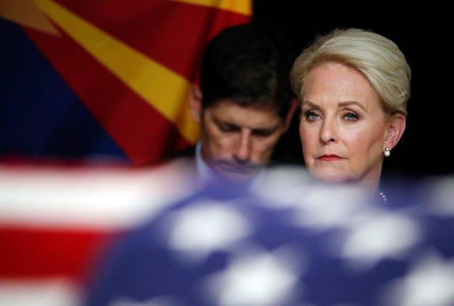 Cindy McCain, wife of Sen. John McCain, R-Ariz. watches during a memorial service at the Arizona Capitol on Wednesday, Aug. 29, 2018, in Phoenix. (AP Photo/Jae C. Hong, Pool)