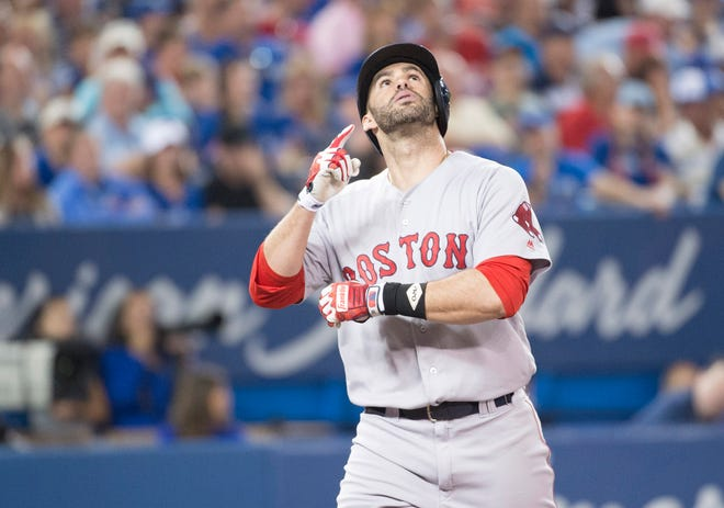 Boston Red Sox right fielder J.D. Martinez (28) stands by the second amendment.