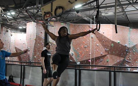 Personal trainer Sandra Smith recently returned to the ninja-warrior gym at AZ on the Rocks after knee surgery.