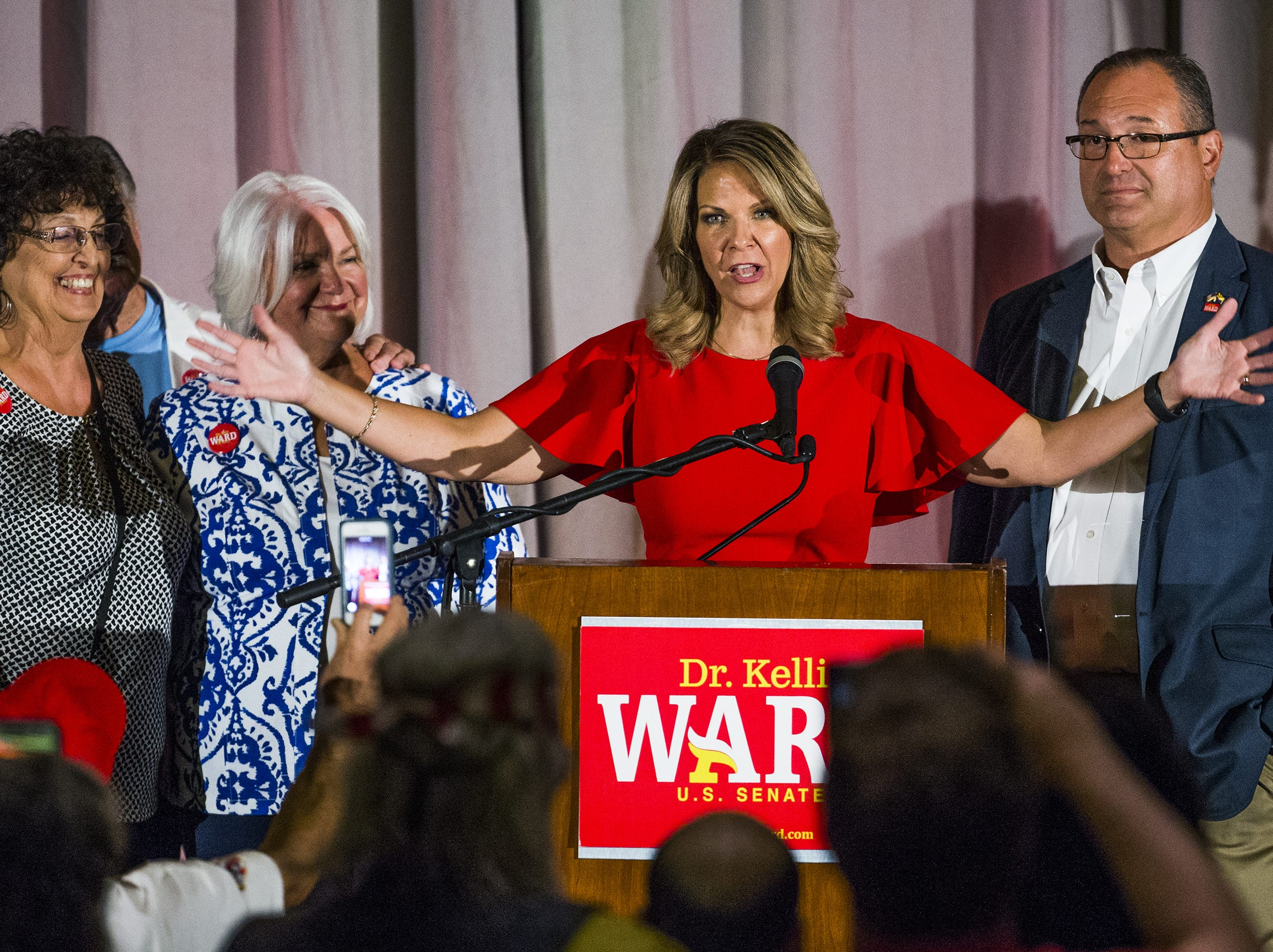 Kelli Ward concedes to Martha McSally during a primary election night party at Embassy Suites Scottsdale on Aug. 28, 2018.