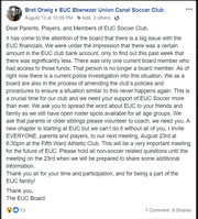 Facebook Message From Bret Orwig To Ebenezer Union Canal Soccer Club parents regarding a theft of funds from the organization.