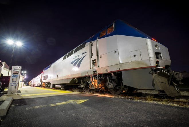 The 365 Blue Water Amtrak train is seen at the Port Huron Amtrak station Wednesday morning, Aug. 29, 2018, before departing for Chicago.