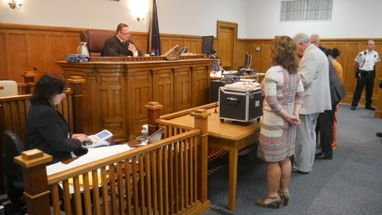 Dutchess County Judge Edward McLoughlin speaks to lawyers involved in the Nicole Addimando murder case during a court appearance on Aug. 29, 2018. From left, standing: Putnam County Assistant District Attorney Chana Krauss; defense attorneys Benjamin Ostrer, of Ostrer & Associates and John Ingrassia of Larkin, Ingrassia & Tepermayster; Addimando.