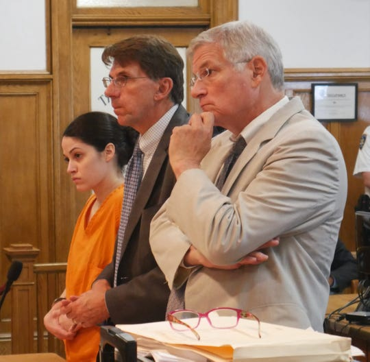 Nicole Addimando stands with her two defense attorneys, Benjamin Ostrer, of Ostrer & Associates (right) and John Ingrassia of Larkin, Ingrassia & Tepermayster, in Dutchess County Court on Aug. 29, 2018.