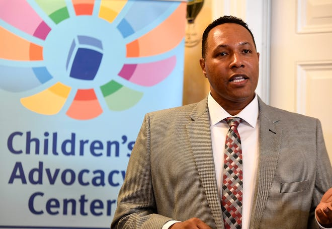 Terry Clark, Administrator at York Count Office of Children speaks during the Safe and Healthy Communities Initiative at the York County Children's Advocacy Center, Wednesday, August 29, 2018.  John A. Pavoncello photo