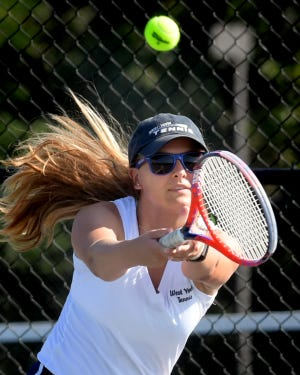 West York's Audrey Kinney, seen above in a file photo, and her Bulldogs teammate, Alisa Steele, have advanced to the York-Adams League Class 2-A Girls' Tennis Doubles Tournament semifinals. DISPATCH FILE PHOTO