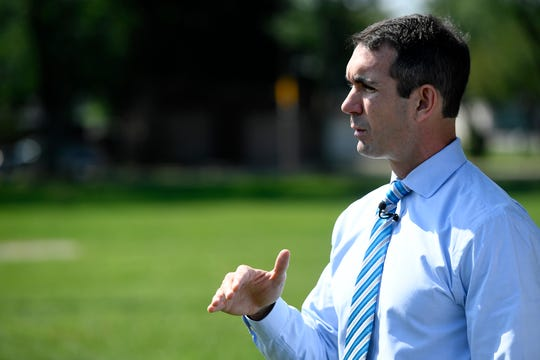 PA Auditor General Eugene DePasquale releases his latest audit of West York Borough's Liquid Fuel fund, Wednesday, August 29, 2018 at Shelly Park.  John A. Pavoncello photo