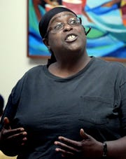 Melinda Alexander of York City speaks during a York NAACP Chapter meeting at Crispus Attucks Community Center Tuesday, August 28, 2018, regarding a promotional video released by the city's police department. Bill Kalina photo