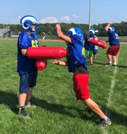Kennard-Dale's linemen working on explosive drills at practice. The Rams defeated Pequea Valley 33-0 last week. Jacob Calvin Meyer photo.