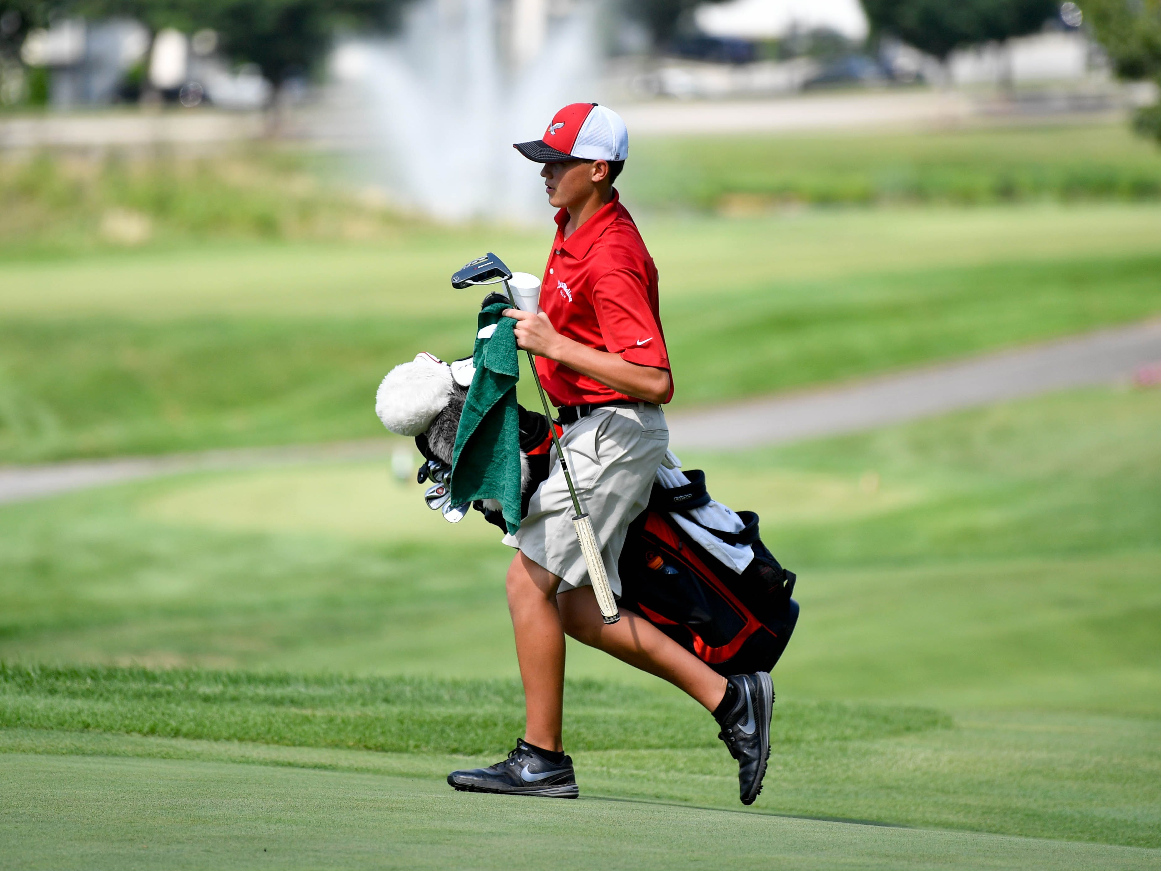 Bermudian Springs' Tucker Byers steps onto the green at Regents Glen Country Club on August 28.