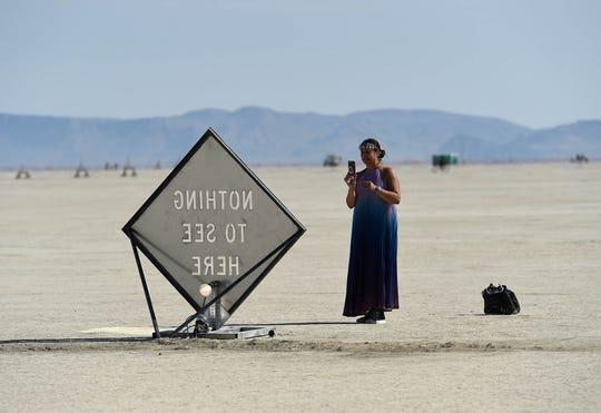 A burner finds an Instagram-worthy shot on the playa.
