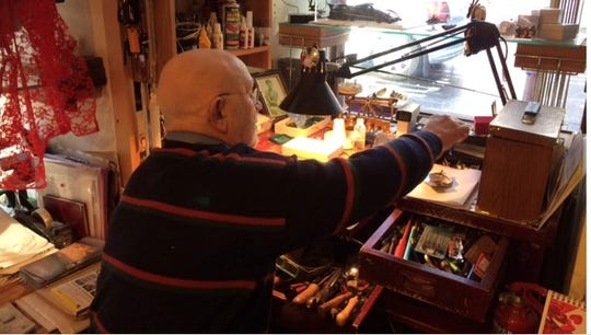Jonathan Margetts at work in the shop