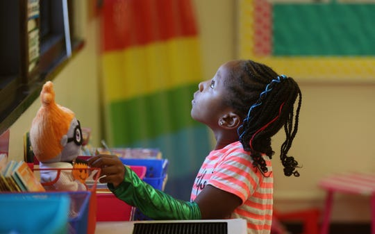Kanyia William,6, is going into first grade at RISE Community School.  She had the opportunity to visit some of the classrooms before the start of the school year.