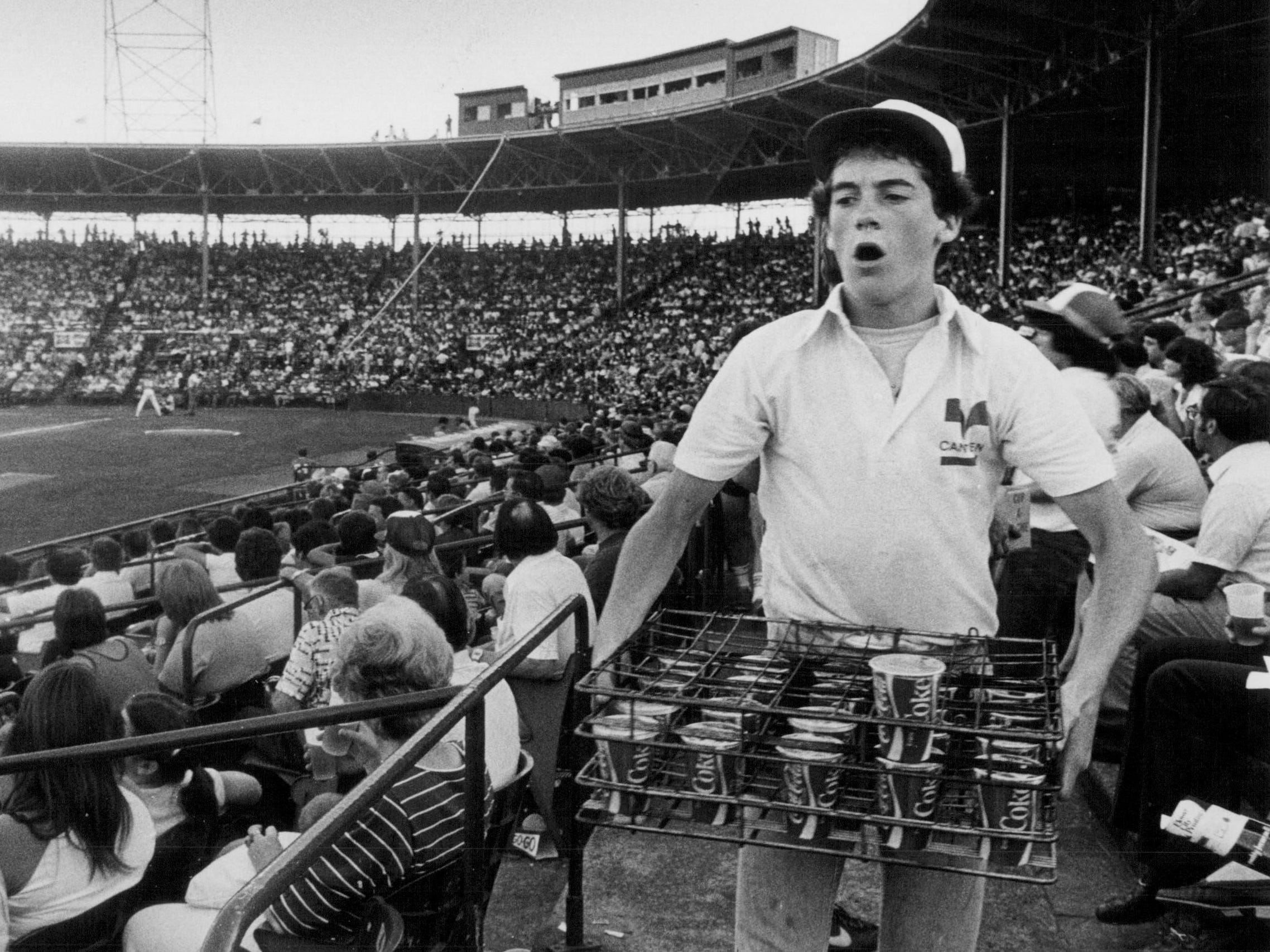 In this 1982 photo, Tim Lum sells soda at Silver Stadium.