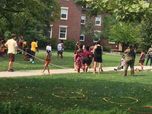 Students playing jumprope
