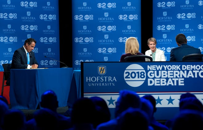 Democratic New York gubernatorial candidate Cynthia Nixon answers a question during a gubernatorial debate with New York Gov. Andrew Cuomo at Hofstra University in Hempstead, N.Y., Wednesday, Aug. 29, 2018.