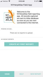 Welcome screen on the iPhone app for the New York Herp Atlas.