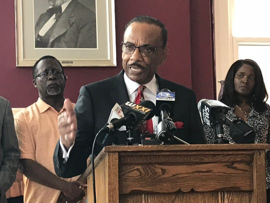 The Rev. Lewis Stewart speaking about the suspensions of two RPD officers in the Christopher Pate case.