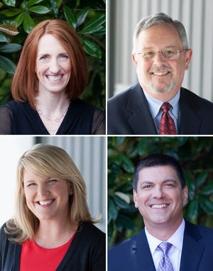 Tammy Dentinger (clockwise from top right), Mark Comstock, John Pollino and Kim Hoyt of Garrett Hemann Robertson P.C. have been selected to the Thomson Reuters 2018 Oregon Super Lawyers list.