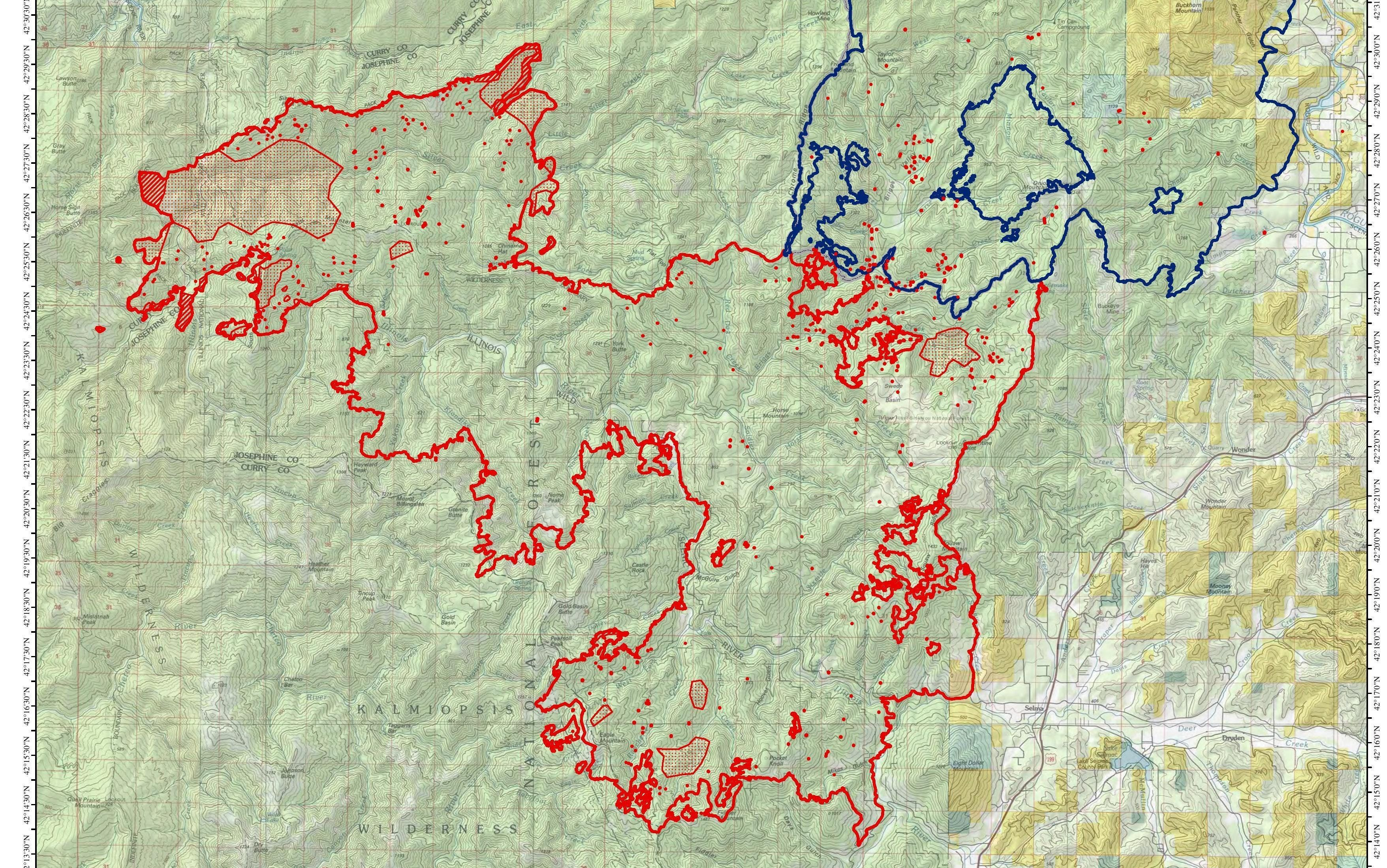 Perimeter of the Klondike Fire.