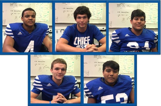 Lake View senior football players, clockwise from top left, are Kendall Blue, Anthony Guevara, Michael Holguin, Manuel Baeza and Elliot Peterson.