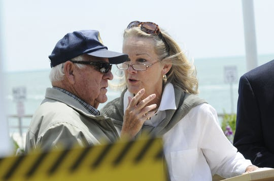In this file photo, Nancy Howard, right, talks with former Ocean City Mayor Fish Powell before the start of a press conference held by the Marylanders United to Stop Slots near the Life Saving Station in Ocean City in 2008.