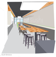 A rendering shows what the interior of a new Springfield restaurant, Craft Sushi, will look like.