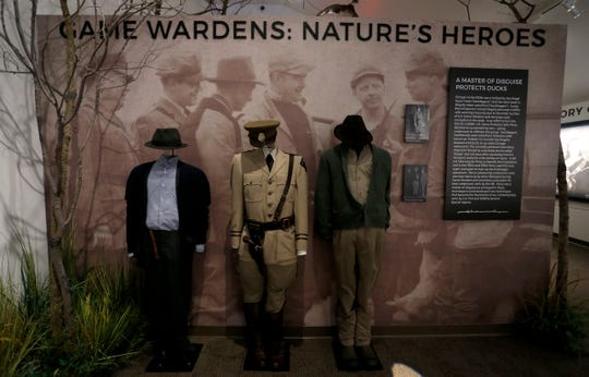 Old game warden uniform and disguises on display at Wonders of Wildlife's newest exhibit, The Year of the Bird, a joint presentation by WOW, Ducks Unlimited and the National Audubon Society on Tuesday, Aug. 28, 2018.