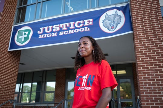 Julia Clark, 17, helped lead the movement to change her high school's name from J.E.B. Stuart High School to Justice High School.