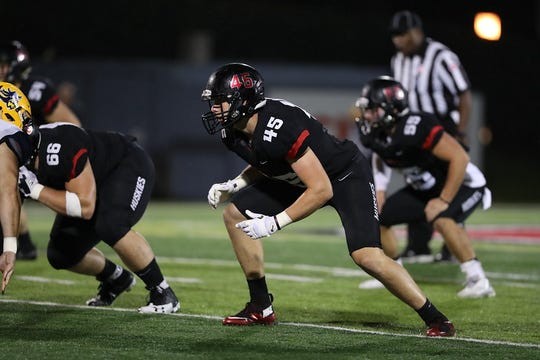 Graham Miller (45) had 32 tackles, including 4.5 for loss, last season for the St. Cloud State football team. Miller and the Huskies open their 2018 season against the University of Mary at 6 p.m. Thursday at Husky Stadium.