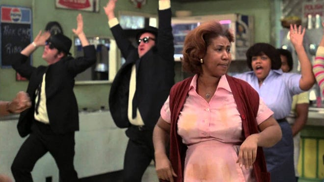 """Aretha Franklin, foreground, is memorable singing """"Think"""" in """"The Blues Brothers."""""""