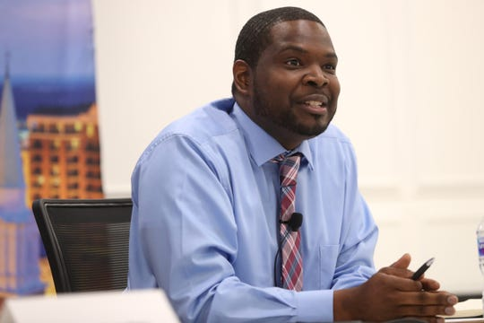 Marcus Nicolas, candidate for Leon County School Board District 5, speaks to the Tallahassee Democrat editorial board on Thursday, July 17, 2018.