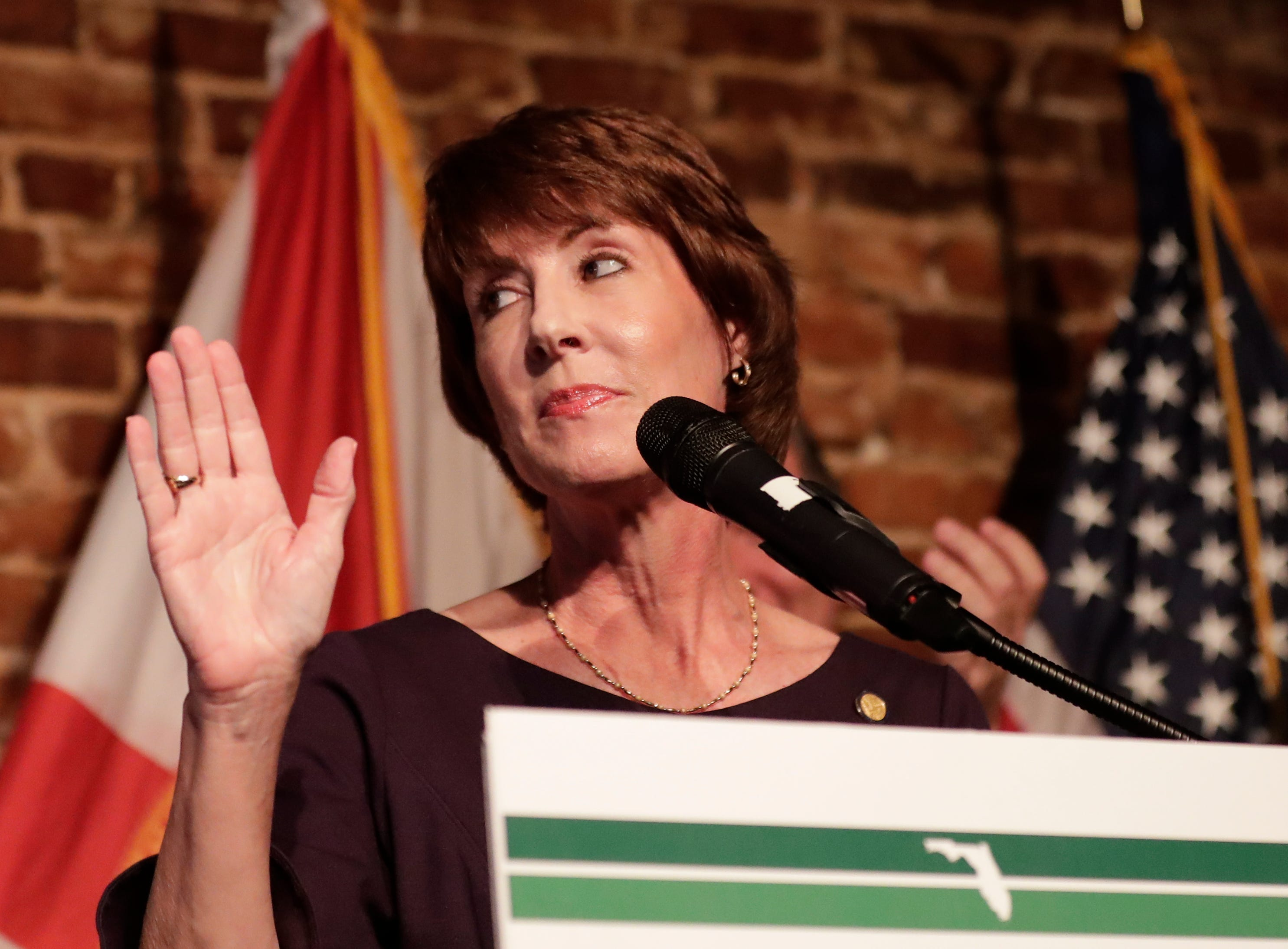 Democratic gubernatorial candidate Gwen Graham gives her concession speech at a primary election night party Tuesday, Aug. 28, 2018, in Orlando, Fla. (AP Photo/John Raoux)